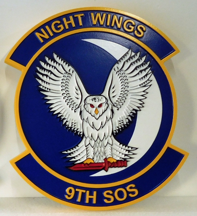 "LP-3700 - Carved Round Plaque of the Crest of the 9th Special Operations Squadron ""Night Wings"", Artist Painted"