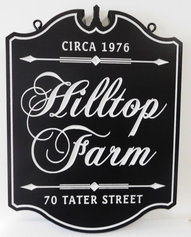 "O24044 - Formal Ornate Engraved Sign for ""Hilltop  Farm"""