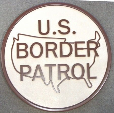 U30338 - US Border Patrol Emblem Carved Wall Plaque