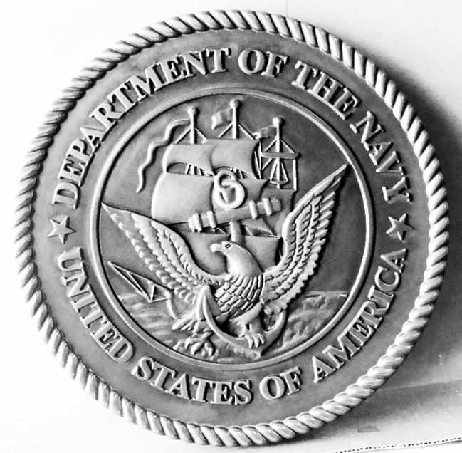 JP-1165 -  Carved Plaque of the Great Seal  of the US Navy, Nickel-Silver