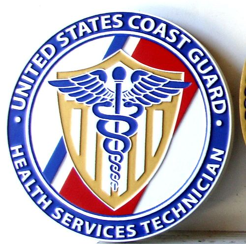 NP-2325 - Carved Plaque of Seal of US Coast Guard Health Services Technician,  Artist Painted