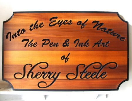 M3043- Engraved Natural Cedar Wood Art Gallery Sign (Gallery 28A)