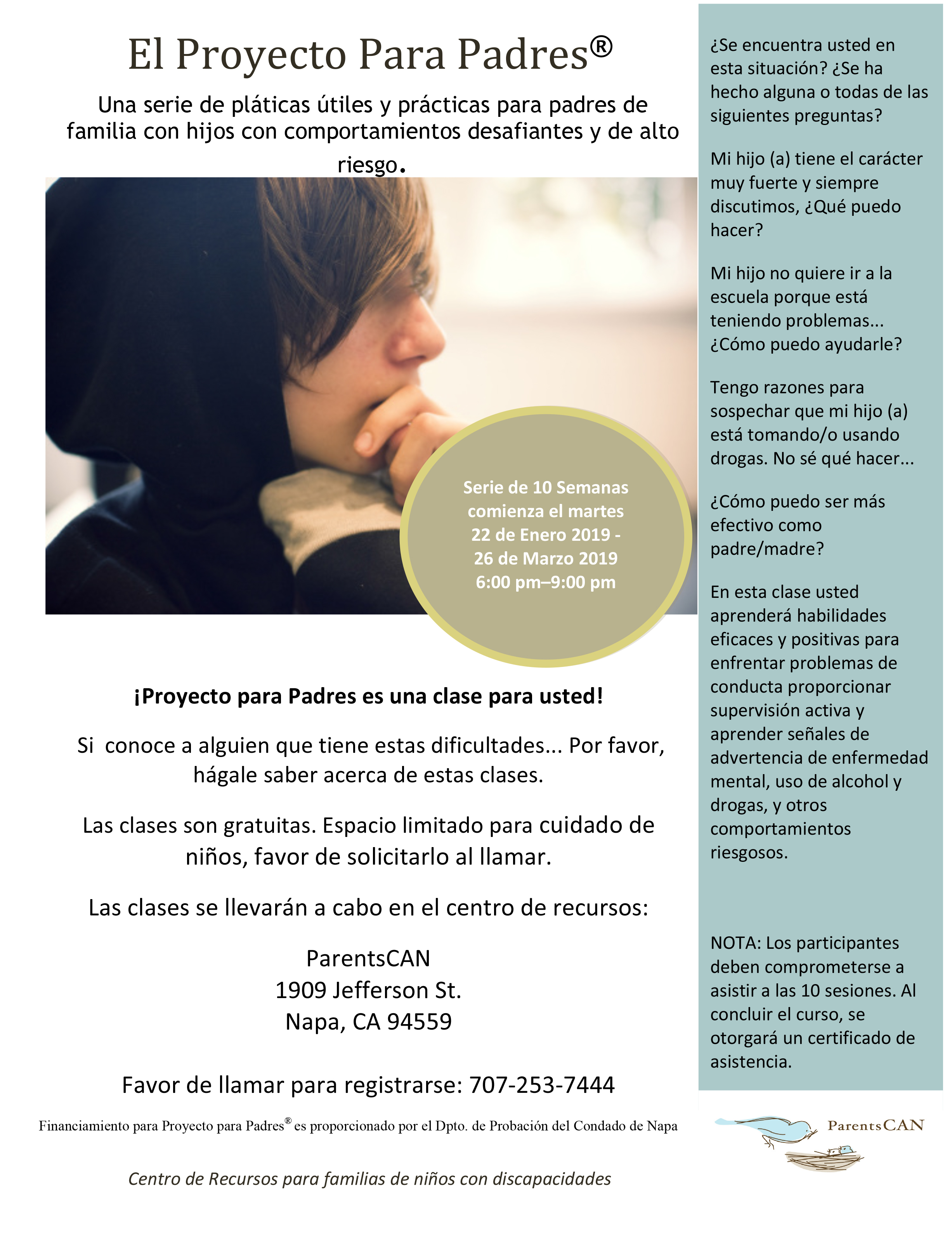 The Parent Project Flyer Spanish