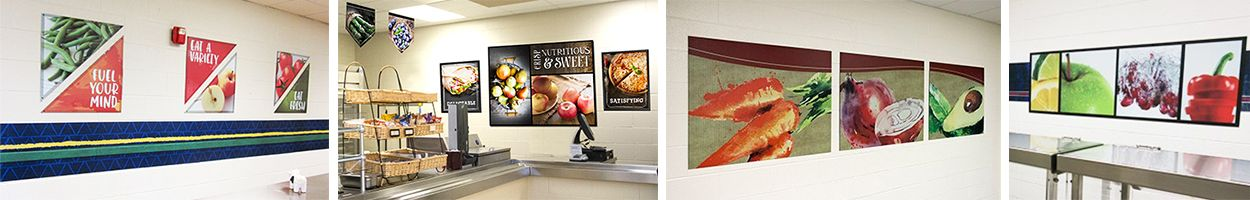 4 images of food murals in school café, custom signs, fruit and vegetable images, food art