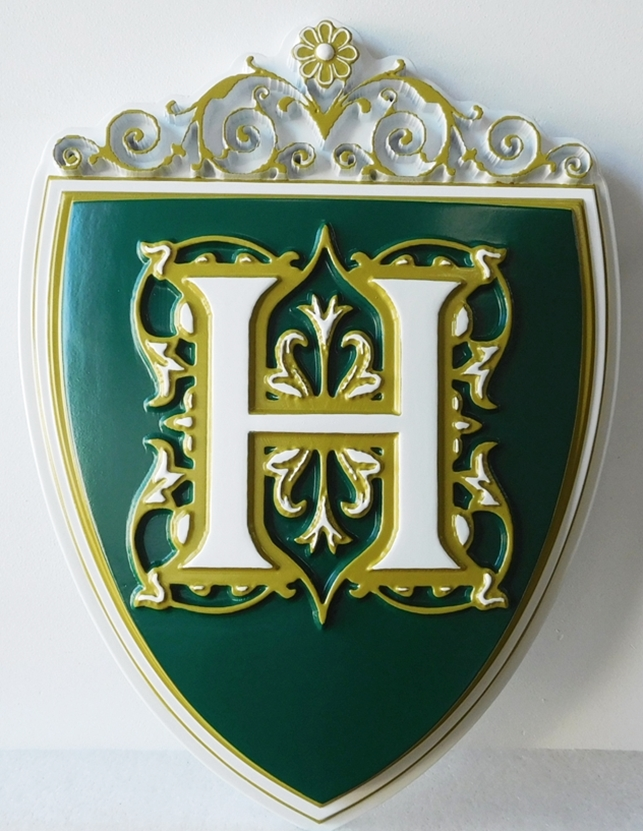 "I18119 - Carved 3D Crest for Family Estate, with ""H"" Monogram"