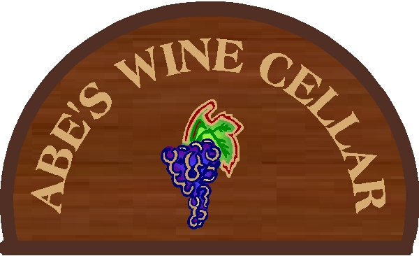 "R27350 - ""Barrel-Head"" Wine cellar Engraved Redwood Wall Plaque"