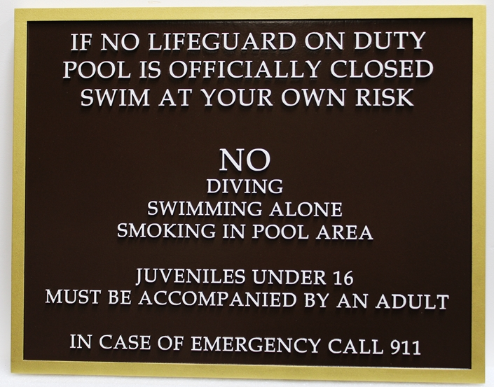 GB16346 - Carved Raised Text High-Density-Urethane (HDU)  Swimming Pool Rules Sign