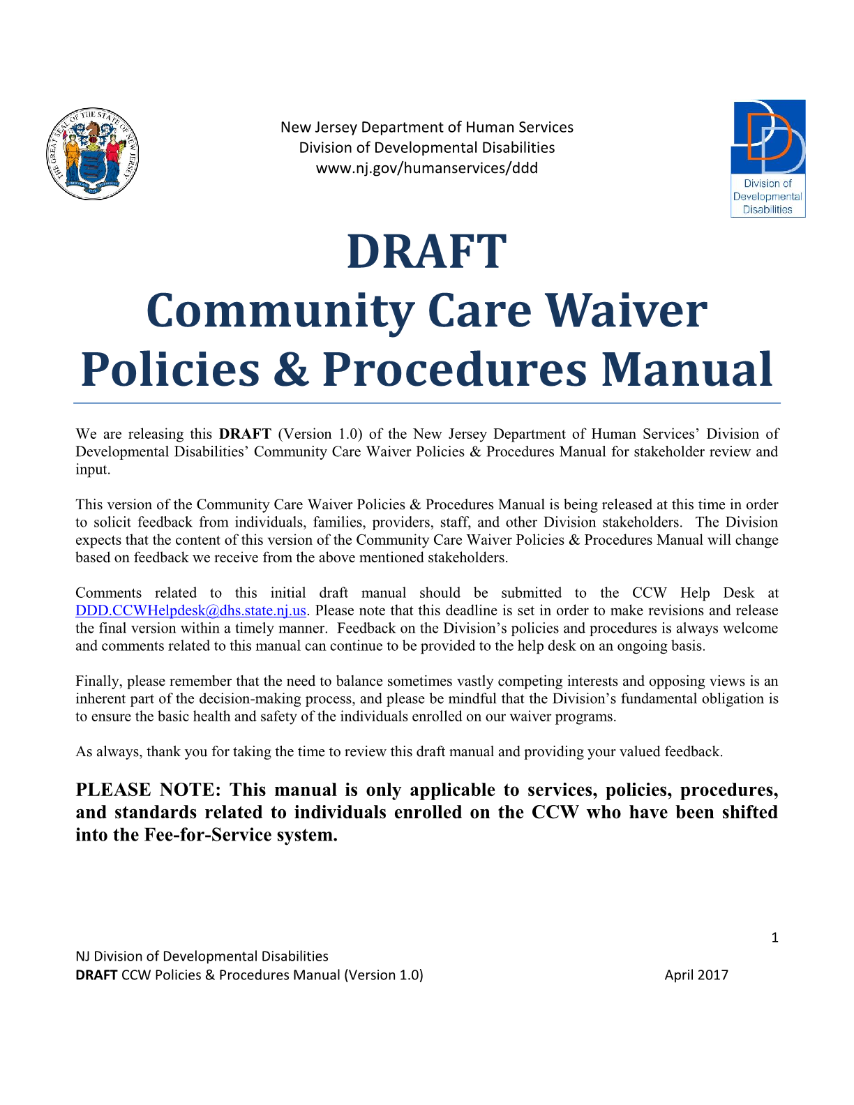Community Care Waiver (CCW) Policies and Procedures Manual