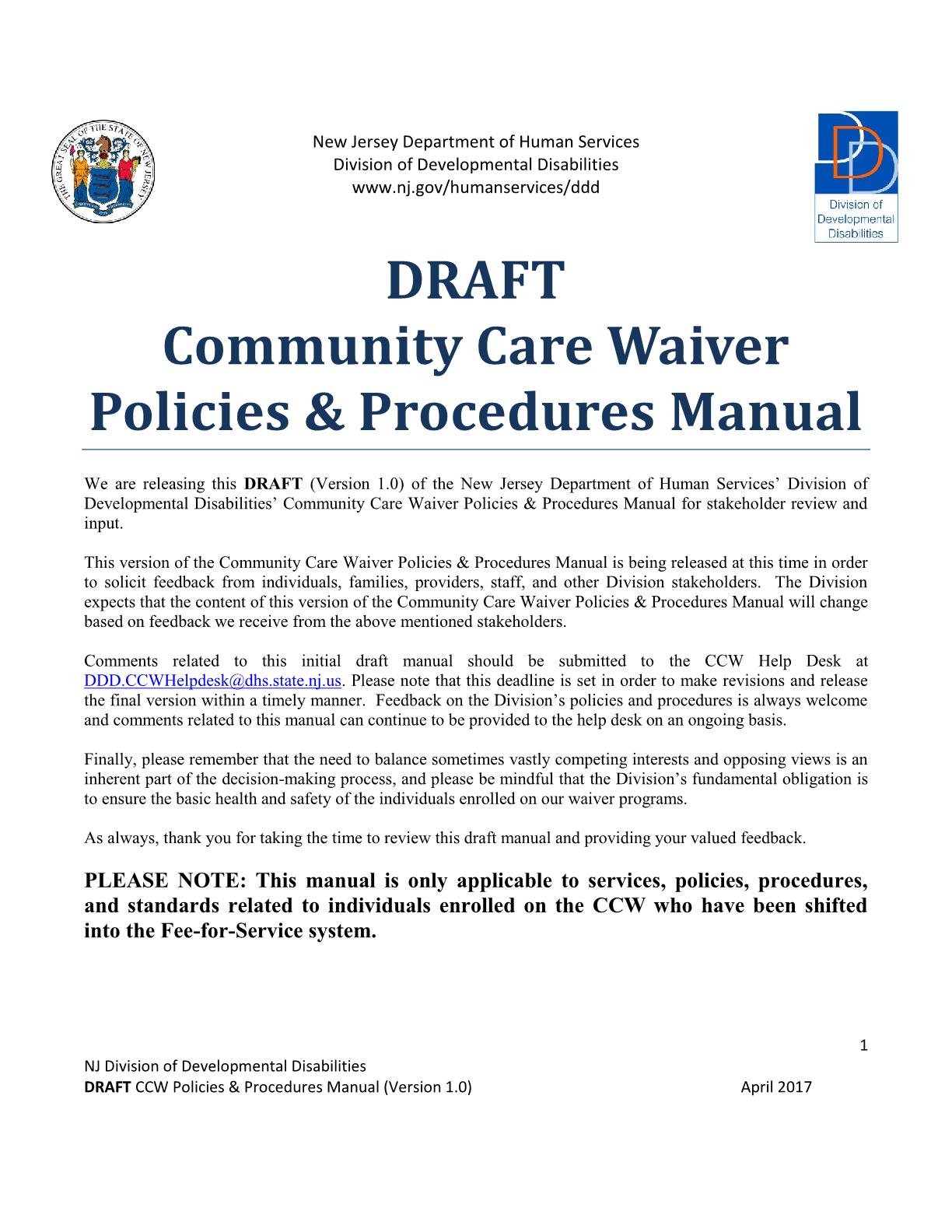 Community Care Program Policies & Procedures Manual