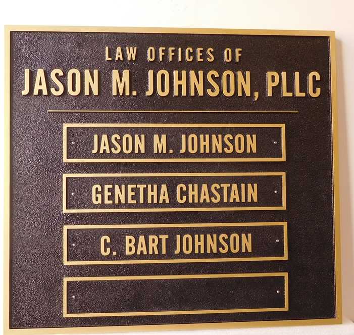 A10591 - Carved HDU Sign For Law Offices with Plaques for Names of Individual Attorneys