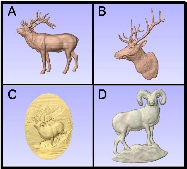 G16468 - Carved Elk and Bighorn Sheep