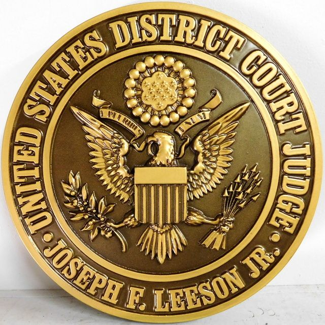 U30161 - Carved 3-D Brass and Bronze Painted Wall Plaque for Seal of US District Court Judge