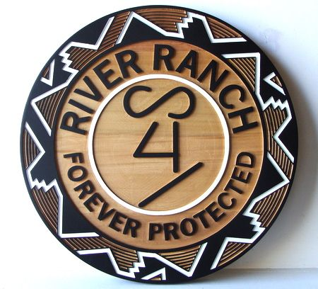 O24358 - Carved Wood Ranch Sign, Natural Wood (River Ranch)