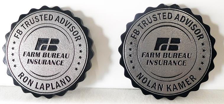 C12516 - Engraved Round Farm Bureau Insurance Plaques, Aluminum-Plated