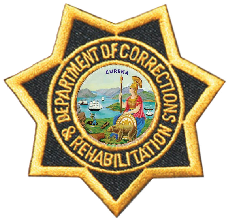 W32077 - 2.5D Carved Wooden Wall Plaque of Badge for California Department of Corrections (Prison System)