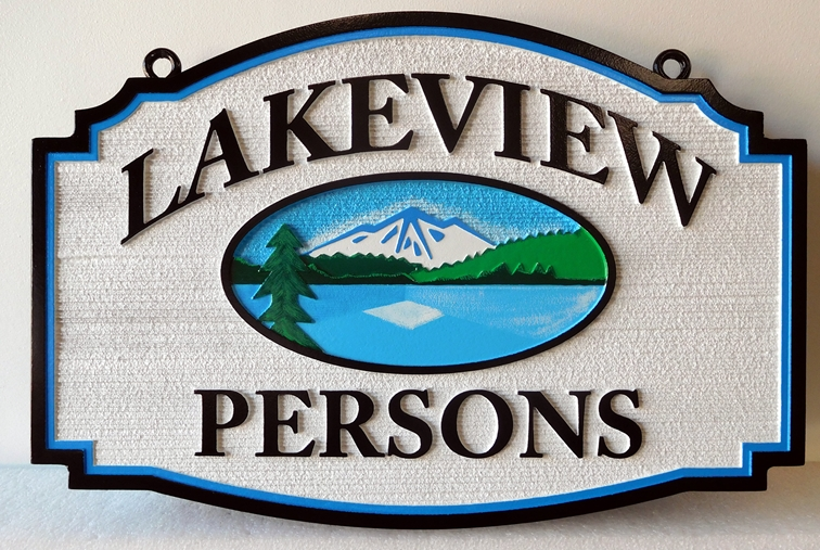 "M22221 - Carved and Sandblasted Lake Cabin Sign, with Mountains, Lake and Trees ""Lakeview"""