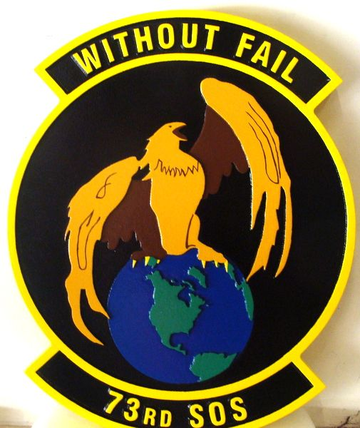 """LP-3820 - Carved Round Plaque of the Crest of the 73rd Special Operations Squadron, """"Without fail"""" Artist Painted"""