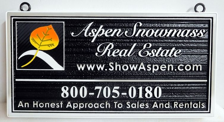 C12339 - Carved and Sandblasted HDU Sign for Aspen Snowmass Real Estate Company , with 2.5-D Raised Text and Wood Grain Background