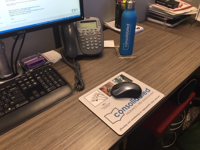 Consolidated mousepad in use