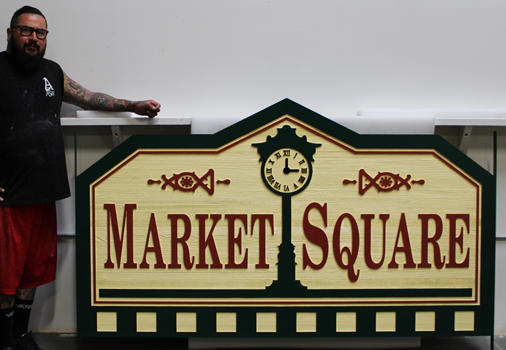 K20371 - Carved Western Red Cedar Entrance Sign for the Market Square Residential Community, 2-5-D  with Street Clock