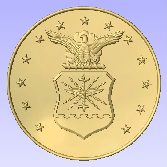 LP-1100 - Carved Plaque of the Emblem  of the US Air Force, Painted Metallic Gold