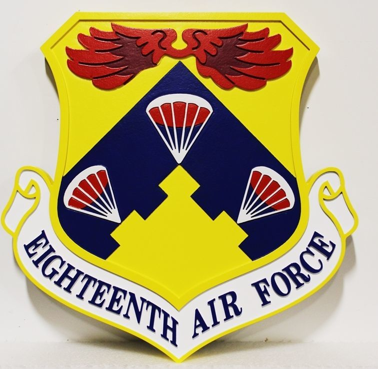 LP-1587 - Carved 2.5-D HDU Shield plaque  of the Crest of the EighteenthAir Force