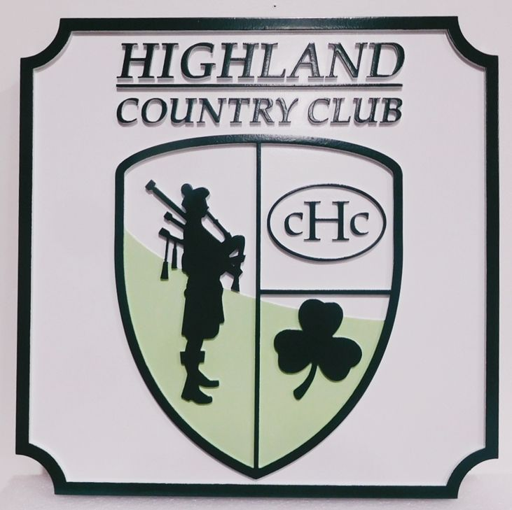 E14012 - Carved Sign for the Highland Country Club, 2.5-D Raised Relief Artist-Painted