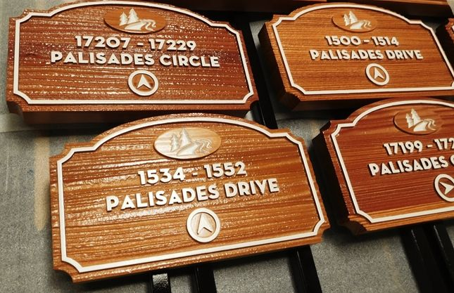KA20928- Carved Custom Unit Number Building Signs for the Palisades Apartment Complex