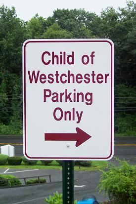 Parking sign on post