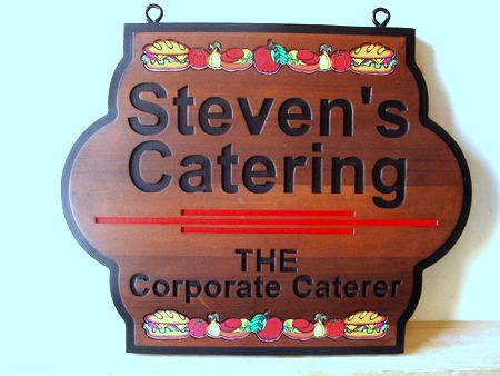 Q25638 -  Natural Wood Engraved Catering Sign