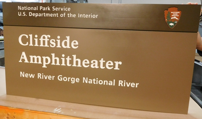 G16020 - Large Cedar Wood Sign for the National Park Service's New River Gorge National River Park, Cliffside Amphitheater