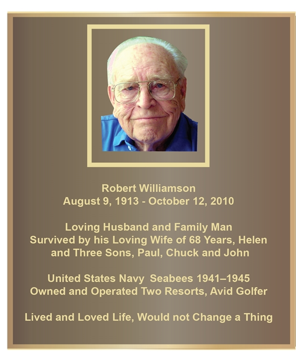ZP-1045- Carved Memorial Photo Plaque Honoring Robert I Williamson, Painted Brass and Bronze