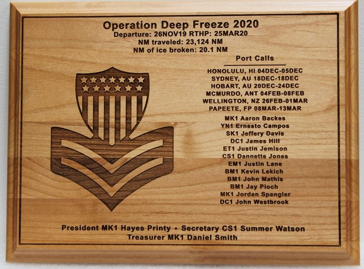 NP-2795 - Engraved Maple Wood Plaque for Plaque for Operation Deep Freeze 2020