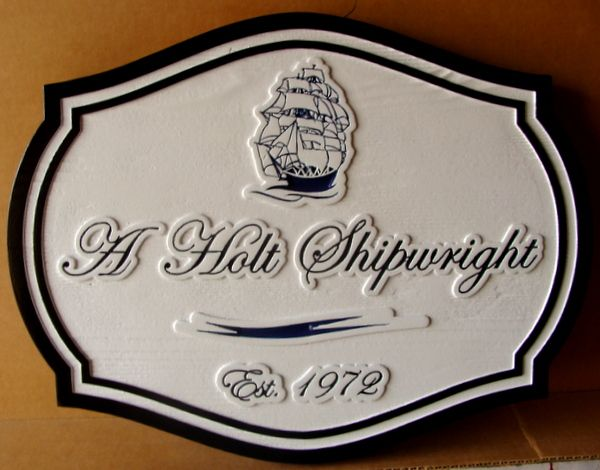 SA28020 - Carved Sign for a Ship Maker (Shipwright) with Galleon Sailing Ship on the Waves