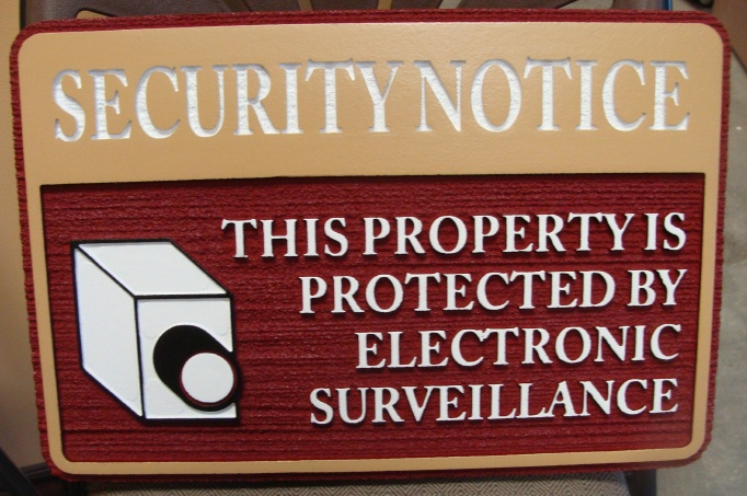"KA20775 - Carved Wood Look HDU Sign ""Security Notice"" ""This Property is Protected by Electronic Surveillance"" with Camera"
