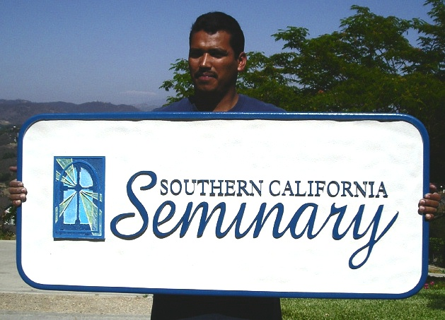 D13126 - Carved Wood Sign for Southern Californ ia Seminary with Carved Stained Glass Church Window