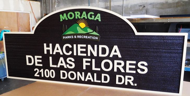 GA16481 -  Large Carved HDU Entrance and Address Sign for Haciendas de Las Flores, with Mountsains and Sunrise as Artwork