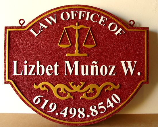 A10145 - Attorney Law Office  Shingle, with Scales of Justice