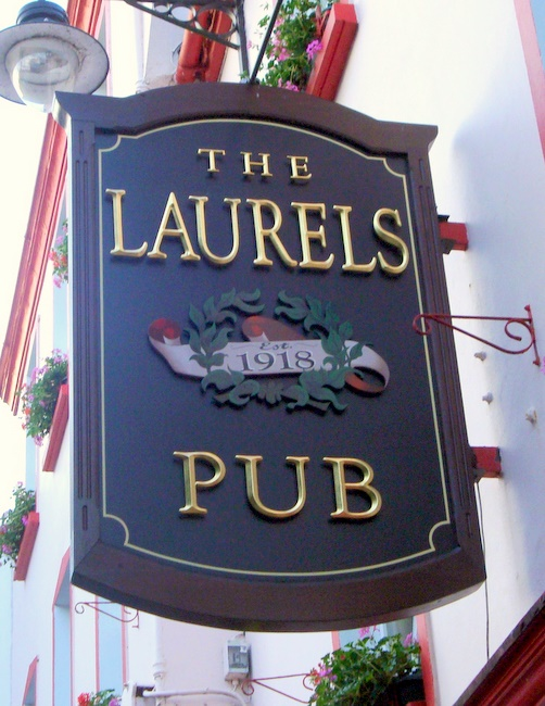 RB27585 - English Pub Blade Sign with Carved 3-D Art and  24K Gold-leaf  Letters
