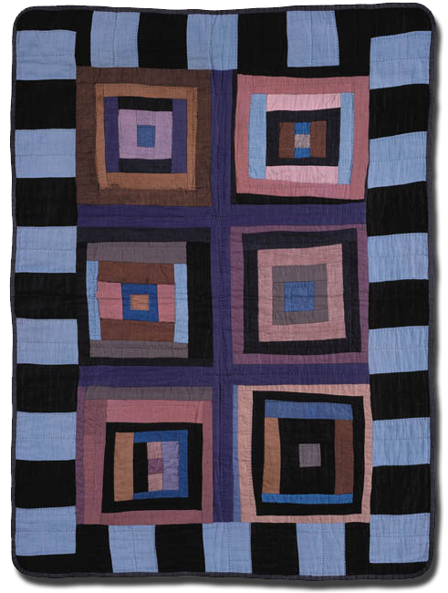 Log Cabin variation, Maker unknown, Possibly made in Indiana, United States, Circa 1910-1930, 38 x 28 in, IQSC 2000.007.0046