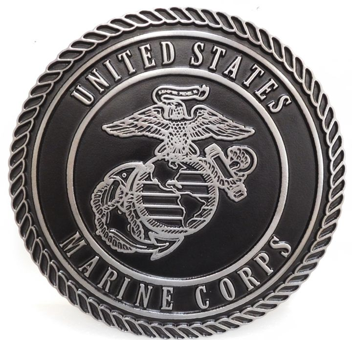 KP-1232 - Carved Plaque of the Emblem of the US Marine Corp, 2.5-D Raised Outline Relief, Aluminum-plated