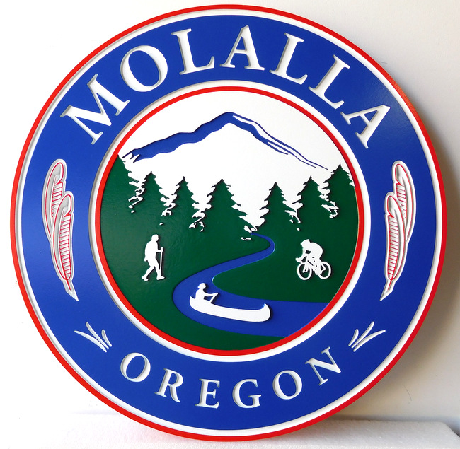 X33101 - Wall Plaque for the City of Mollala, Oregon, with Mountain, Trees, Hiker, Biker and Canooer as Artwork