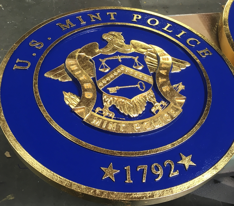 U30378 -  Carved 3-D  Wall Plaque with the Seal of  the US Mint Police, 24K Gold-Leaf Gilded.