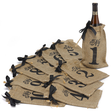 Burlap Table Number Wine Bags 1-10