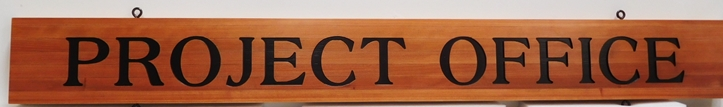 F15562 - Carved Engraved Hanging  Sign hanging Sign for a Town's Project Office,  Stained Western Red Cedar