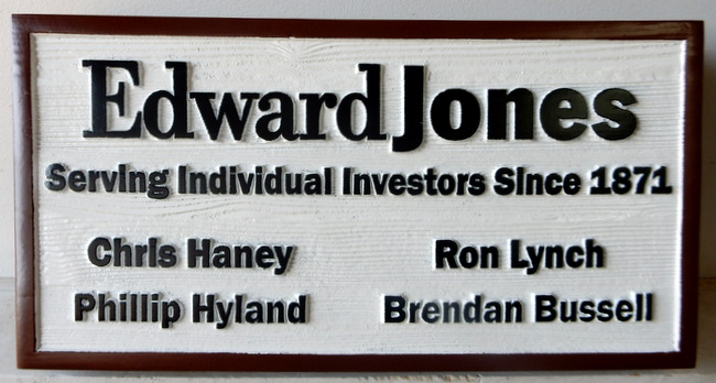 C12016 - Carved and SandblastedCedar Wood Sign for Edwatd Jones Brokerage Firm.