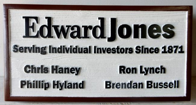 C12056 - Carved and Sandblasted Cedar Wood Sign for Edward Jones Brokerage Firm.