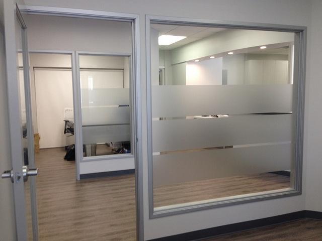 Etched vinyl window graphics for dental offices in Orange County