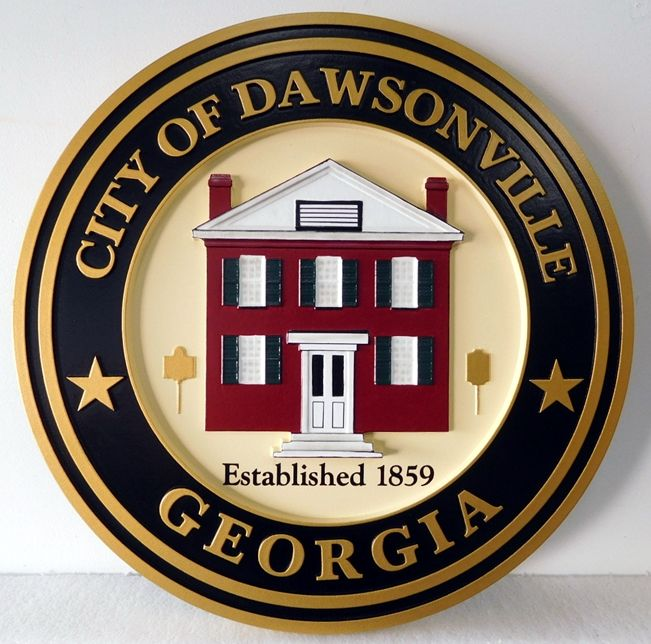 DP-1450 - Carved Plaque of the Seal of the City of Dawsonville, Georgia, Artist-Painted