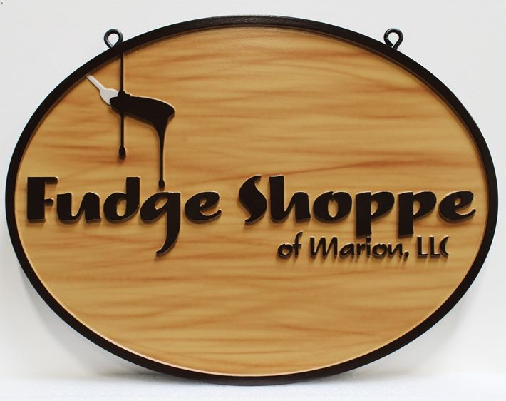 "Q25835 - Carved HDU Sign  for ""The Fudge Shop"", Painted with Faux Wood Grain"